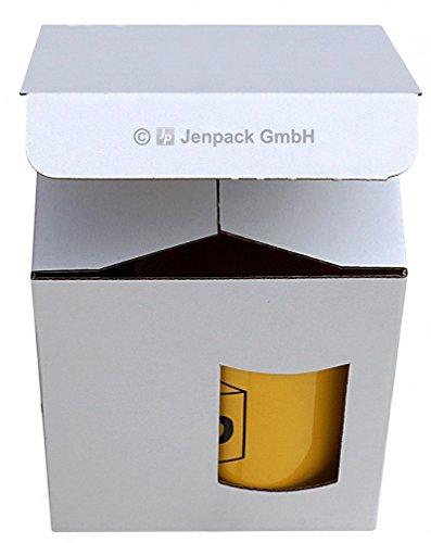 Jenpack Tassenverpackung 110x110x130 mm – weiß/Braun mit Sichtfenster VE 50 Stück