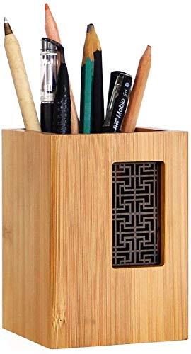 YOSCO 木製 ペン立て ペンスタンド 卓上収納 オフィス収納 シンプル 天然木 木目 高級感 デザイン (長方形S)