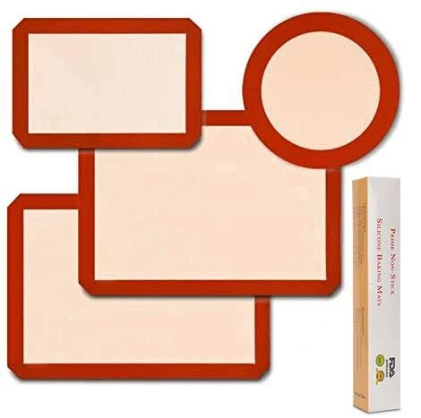 Silicone Baking Mats, Food Safe Baking Mat - Pack of 2 + 1 Round & 1 Rectangle Cake Pan Mat - 100% Nonstick - Reusable Oven Cooking Liners - Bake Pastry & Cookie(4-pack Red)