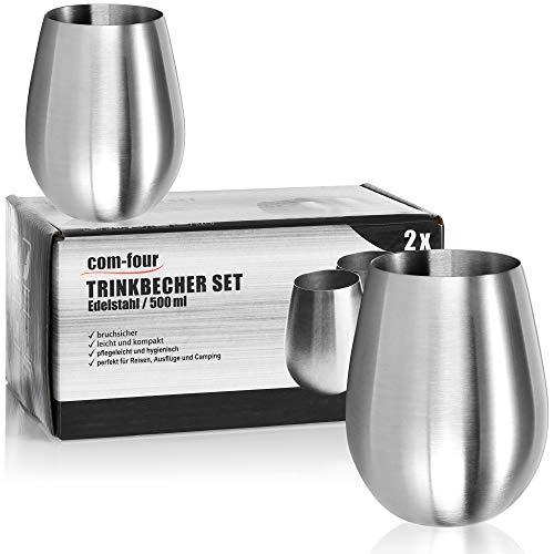 com-four® 2X Weinglas aus Edelstahl - Weinbecher 500 ml für Reisen - Edelstahl-Becher to Go - Stielloser Wein-Kelch - Reisebecher BPA-frei (500ml)