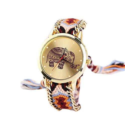 Sunnywill Elefant Muster eingewoben Seil Band Armband Quarz Zifferblatt Armbanduhr Orange (C)