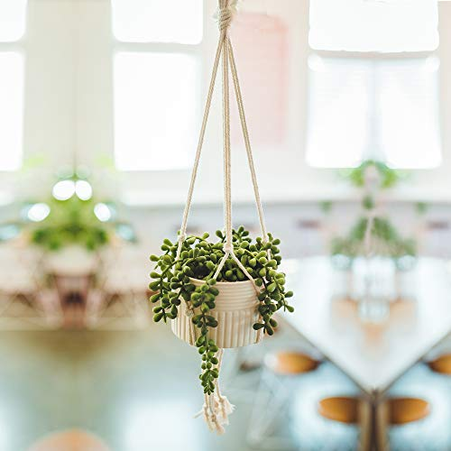 Flora Bunda Faux String of Pearl in 4' Macrame Hanging Ceramic Planter Donkey Tails Lover's Tear