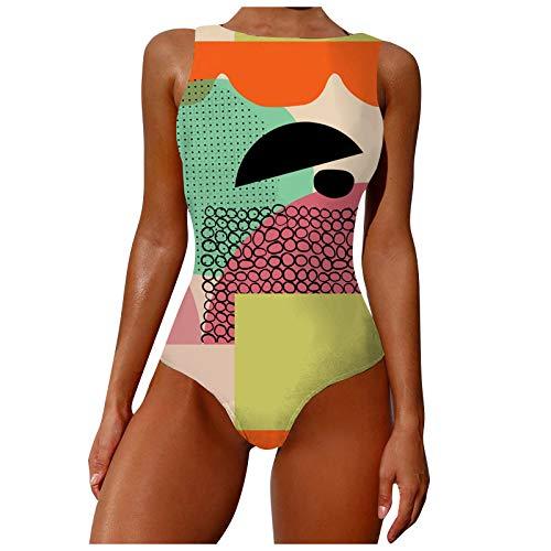 ZouYiL - Bañador de una pieza con tirantes, espalda descubierta, diseño abstracto de graffiti, bañador de una pieza para playa, piscina, crucero, vacaciones #02/verde/A XL