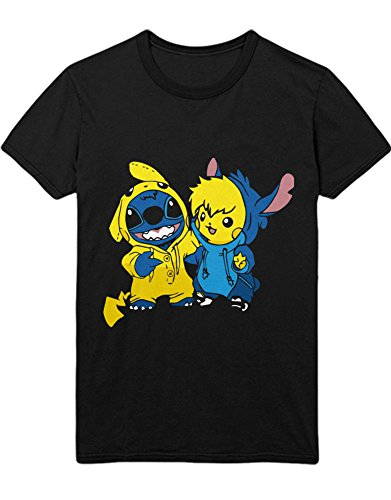 T-Shirt Pika Stitch Freunde Friendship Game Poke C980022 Schwarz M