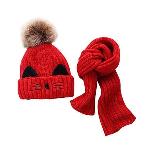 JFAN Cappelli per Bebè Ragazzi - Sciarpa Calda Invernale per Bambini Set Simpatico Berretto con Pon Pon Lavorato a Maglia Gatto per Bambino 2-8 anni (rosso)