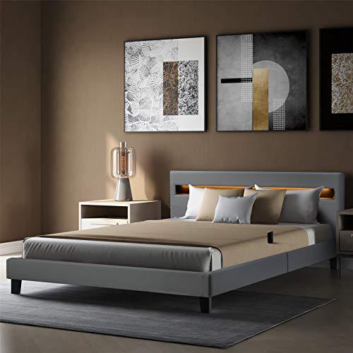 Callaghan Polsterbett 140 × 200 cm – Bettgestell mit LED Beleuchtung, Lattenrost & Kopfteil – Kunstleder & Holz Bett Jugendbett