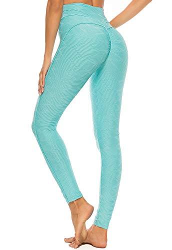FITTOO Leggings Mallas Mujer Pantalones Deportivos Yoga Alta Cintura Elásticos y Transpirables1500#3 Azul Claro Chica