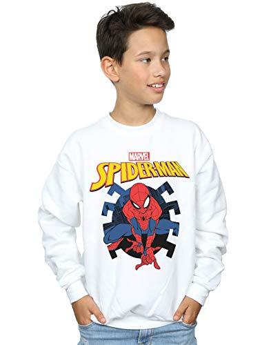 Marvel Niños Spider-Man Web Shooting Emblem Logo Camisa De Entrenamiento Blanco 5-6 Y