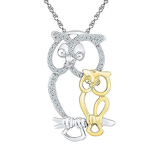 Ani's Collar con colgante de búho chapado en oro de dos tonos para mujer con diamantes Sim de 1/10 quilates