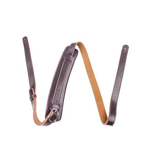 Rayzm tracolla per chitarra o basso larghezza 5.5 cm, largo pad di sostituzione e retro scamosciato, tracolla in vera pelle per chitarra Acustica / elettrica/ basso, lunghezza regolabile ( Marrone)