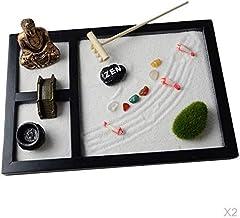 #N/A 2pcs Buddha Statue,Rake,Sand, Bridge Rocks Incense Garden for Meditation