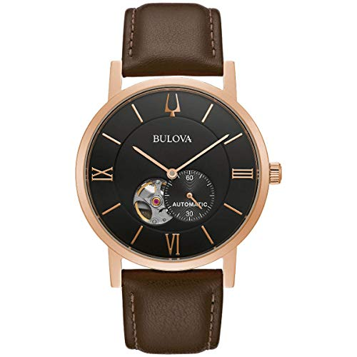 Bulova 97A155 Men's American Clipper Brown Strap Automatic Watch