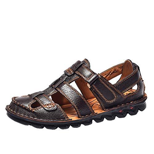 Kaister Sommer Herren Leder Sandalen Wohnungen Strand zu Fuß rutschfeste weiche Unterseite Freizeitschuhe Beach Schuhe Sandalen Outdoor Slipper