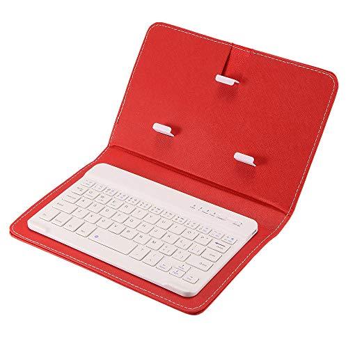 xingshen Cubierta Protectora de Teclado Bluetooth Plegable portátil Cubierta Protectora de Clip de teléfono móvil de Cuero PU Teclado inalámbrico-_Rojo