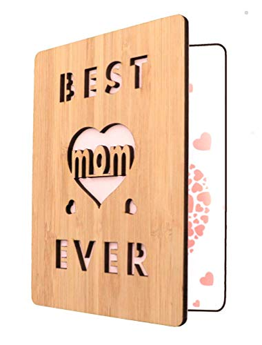 Mother's Day Card For Mom, Best Mom Ever Wooden Greeting Card, Birthday Card For Mom- Unique Gift For Mom
