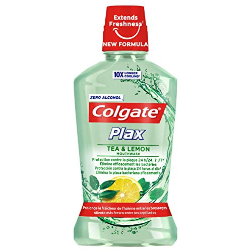 COLGATE enjuague bucal plax tea & lemon botella 500 ml