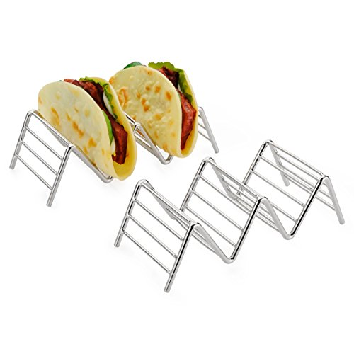 Amazer 2-Pack Taco Holder, Taco Stand Stainless Steel Rustproof Taco Rack Hold 2 or 3 Hard or Soft Taco Shells Taco Truck Tray Style Oven Safe for Baking
