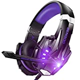 BENGOO G9000 Stereo Gaming Headset for PS4, PC, Xbox One Controller, Noise Cancelling Over Ear Headphones with Mic, LED Light, Bass Surround, Soft Memory Earmuffs (Purple) (Renewed)