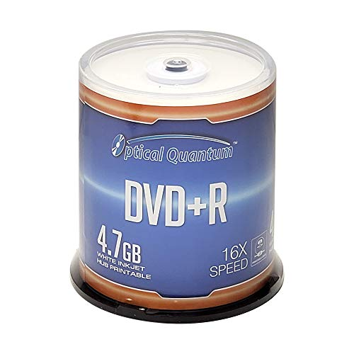 Optical Quantum DVD+R 4.7GB 16X White Inkjet Printable - 100pk Disc Spindle (FFB) OQDPR16WIPH-BX