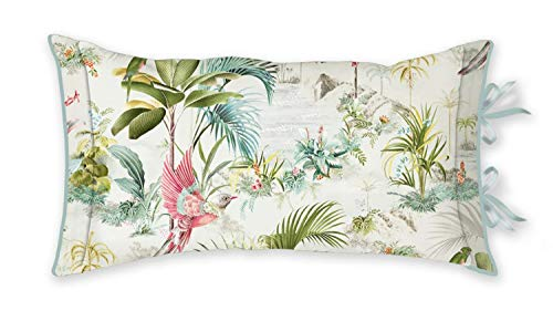 PIP Studio Cojín decorativo Palm Scenes Cushion White 35 x 60 cm