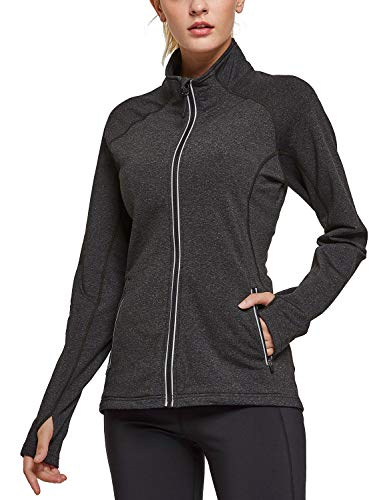 BALEAF Women's Fleece Bodyfit Full-Zip Pocketed Collared Long Sleeved Running & Track Jacket with Thumb Holes Heather Black Size M