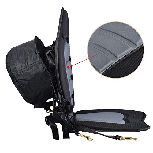 Las correas delanteras y traseras con cuatro ganchos de presión de latón inoxidable de grado marino se pueden usar para fijar el asiento en su lugar de manera resistente. Este asiento está diseñado para adaptarse a la mayoría de los kayaks y canoas y...