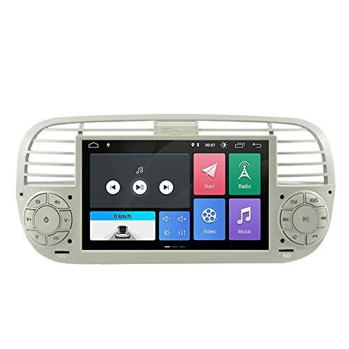 ESTOCK1 ANDROID 10.0 autoradio navigatore per Fiat 500 Fiat Abarth 500 2007-2015 wi-fi GPS 7' USB WI-FI Bluetooth Mirrorlink color beige/bianco CAR TABLET wi-fi radio 500