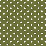 babrause® Baumwollstoff Punkte Olive Webware Meterware