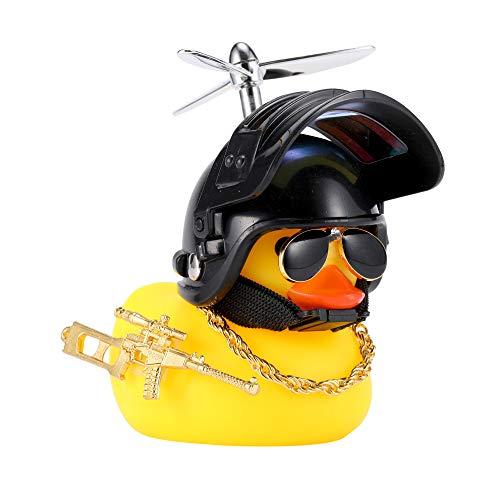 U-Goforst Cute Rubber Duck Toy Car Ornaments Yellow Duck Car Dashboard Decorations Bike Gadgets with Propeller Helmet (Black)