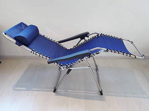 Fauteuil relax avec châssis en aluminium avec tissu chaise longue en textilène – Couleur Bleu – Pour usage extérieur intérieur modèle 029TX Movida – Multi-position et refermable, fabriqué en Italie