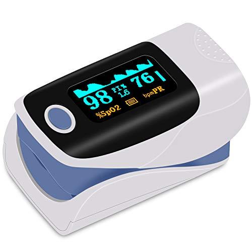 Finger Pulsoximeter, kungfuren Fingeroximeter Blutsauerstoffsättigungsmonitor mit Alarm-OLED-Bildschirm Tragbares Fingeroximeter für SpO2 und Herzfrequenz