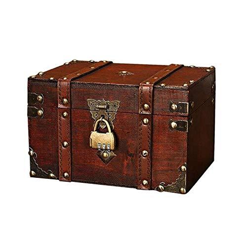 Belleashy Temporizador de cocina vintage caja de madera con cerradura de contraseña caja de almacenamiento de tesoros regalos para cocinar ducha baño (tamaño S; Color: como se muestra)