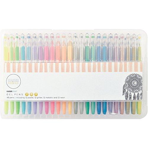 Kaisercraft Gelstift-Set-Glitzer, Pastell, Neon und Metallic-48 Farben, Plastik, Multicolour, 28 x 17 x 3 cm