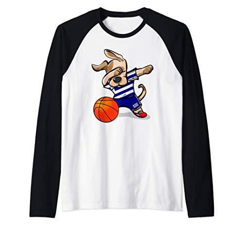 Dabbing Dog Perro Baloncesto de Grecia - Bandera griega Camiseta Manga Raglan