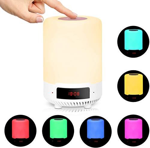 LED Nachttischlampe Kinder mit Bluetooth Lautsprecher, RUMIA Touch Dimmbar Tischlampe, Digitaler Wecker, 6 Farbwechsel, USB Aufladbar, Atmosphäre Nachtlicht Lampe für Schlafzimmer, Wohnzimmer und Büro