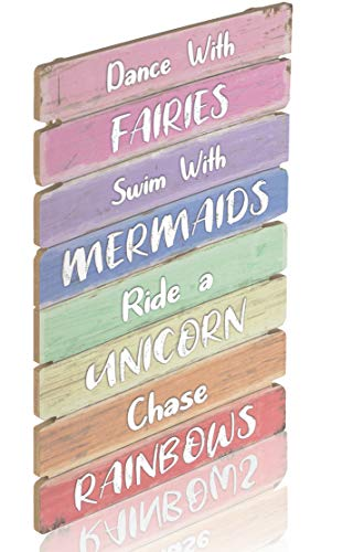 Something Unicorn - Pastel Rainbow Wall Hanging Sign for Teen Girls, Kid's Bedroom, Nursery, College Dorm, Girls Room Decor. Amazing Gift for Unicorn, Mermaid, Fairy, Rainbow Lovers,12x17 in, Rainbow