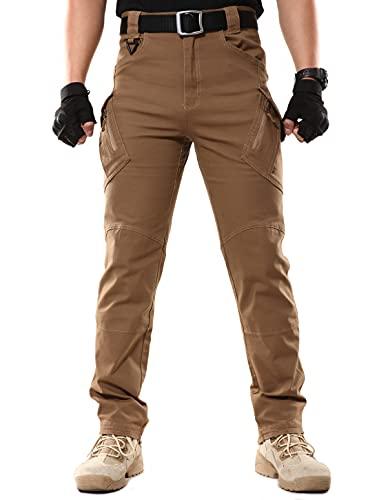 KEZATO Pantalones tácticos para hombre con muchos bolsillos, Ripstop Cargo, pantalones de trabajo, senderismo, ropa de exterior, marrón, 36