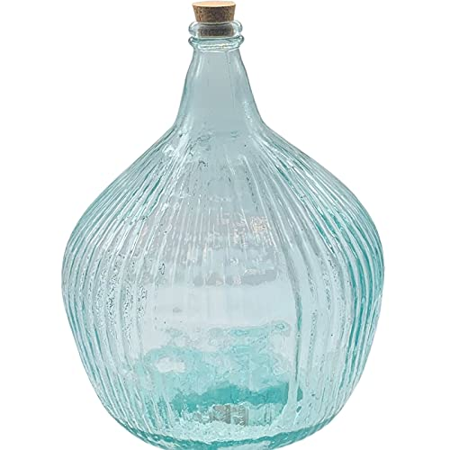 La Mediterránea - Garrafa de vidrio rayada 16 litros, tapón de corcho, modelo Apple, 41,5 x 31,5 cm, damajuana, botella de vidrio a rayas para almacenar agua, vino, bebidas