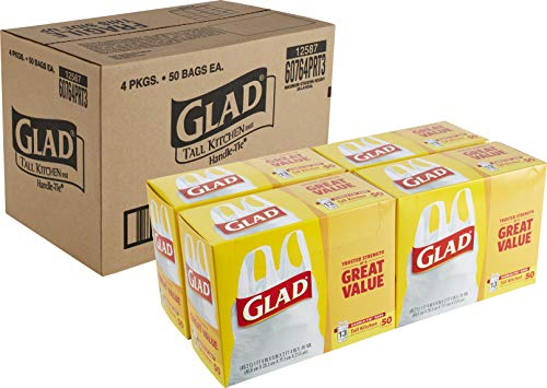 Glad Tall Kitchen Handle-Tie Trash Bags - 13 Gallon White Trash Bag - 50 Count - Pack of 4 (Package May Vary)