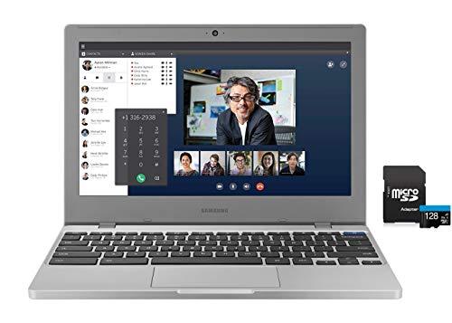 2020 Newest Samsung Chromebook 11.6' HD Laptop, Intel Celeron N4000 Processor, 4GB RAM, 32GB eMMC, Webcam, Online Class, Bluetooth, WiFi, Chrome OS , Platinum Titan, KKE 128GB MicroSD Card Bundle