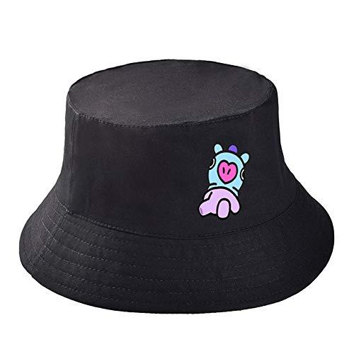 Tiyila Kpop Eimer Hte Bangtan Jungen Baumwolle Outdoor Cap UV-Schutz Sonnenhut Damenbekleidung Accessoire(BK4)