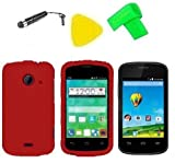 Phone Cover Case Cell Phone Accessory + Extreme Band + Stylus Pen + LCD Screen Protector + Yellow Pry Tool For ZTE Whirl 2 Z667G Z 667 G (Red)