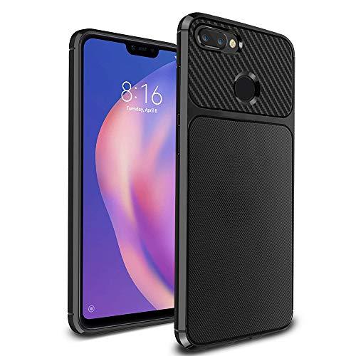 Ferilinso Xiaomi Mi 8 Lite Cover, Slim Thin Hybrid Carbon Fiber Defender Scratch Resistant Anti Shock Silicone Protective Cover for Xiaomi Mi 8 Lite (Black)