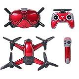 Jinshen FPV Drone Kit Skin Wrap para DJI Drone Combo FPV Gafas V2 FPV Cámara y Transmisor FPV Controlador de PVC Pegatina Set FPV Accesorios FPV (rojo)
