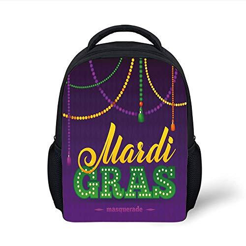 Kids School Backpack Mardi Gras,Beads and Tassels Masquerade Theme Calligraphy Design Fun Print Decorative,Purple Marigold Fern Green Plain Bookbag Travel Daypack