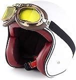 Casco di Mezza Moto d'Epoca con Built-in Lente retrò Moto Mezzo Casco D. O. T Certificato Outdoor Equitazione Cappello di Sicurezza
