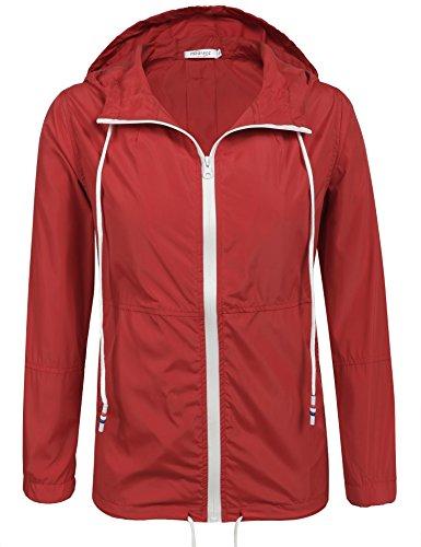 Unibelle Damen Regenjacke Trainingsjacke für Damen, Freiezitjacke ohne Kapuze mit Stehkragen Roserot L