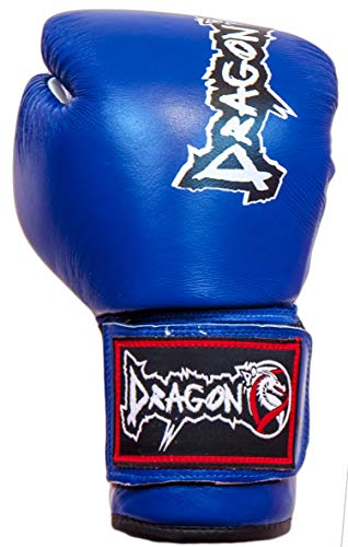 Dragon Do Leather Boxing Gloves Best for Boxing, MMA, Kickboxing, Muay Thai Leather Boxing Gloves - for Both Man and Woman (Blue, 16 oz)