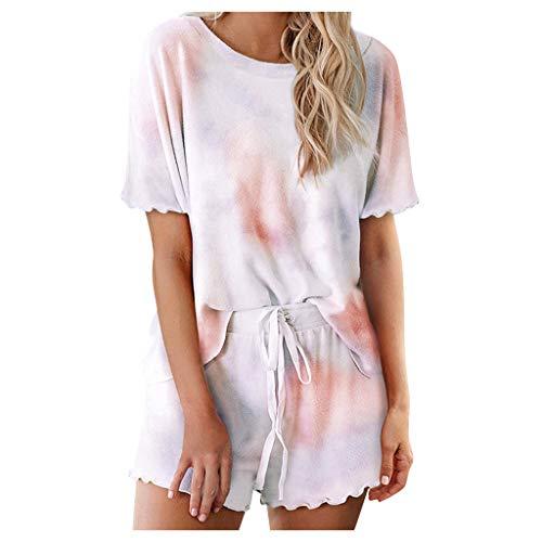 Xniral Damen Pyjama Schlafanzug Kurz Tie-Dye Bedruckte Nachtwäsche Nachthemd Hausanzug Set Kurzarm Rundhals-Ausschnitt für Sommer (A Rosa,L)