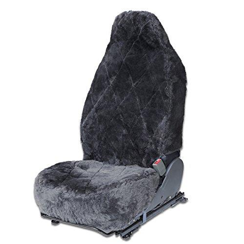 OxGord Sheepskin Seat Covers (Single Bucket) Wool Sheep Skin Shearling Car Accessories Best for Front Bucket Auto Seats Cover on Cars Truck SUV Van - Real Lambs Lambskin Gray Fleece Plush Cushion